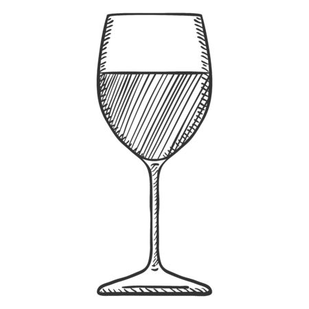 Vector Sketch Illustration - Classic Glass with Wine