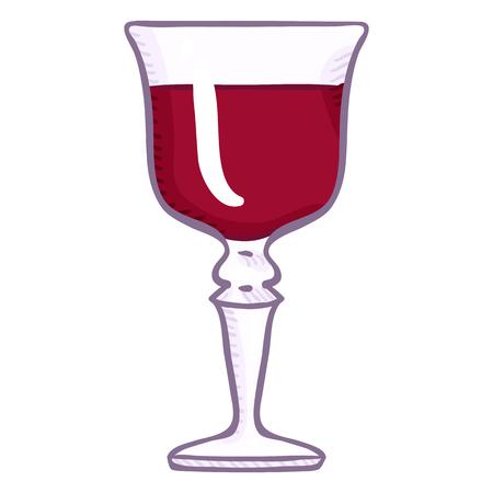 Vector Cartoon Illustration - Goblet Glass with Liquor