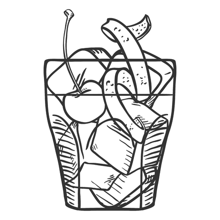 Vector Sketch Illustration - Old Fashioned Cocktail with Cherry , Ice Rocks and Orange Peel Illustration