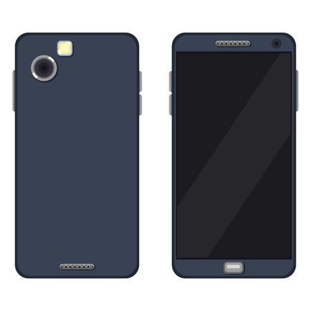 Vector Set of Flat phone Illustrations. Back and Front View.