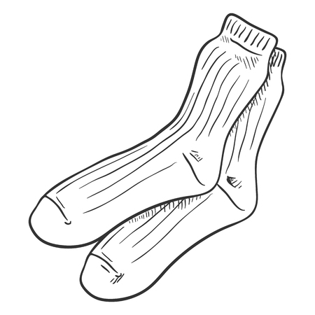 Vector Outline Sketch Illustration - Casual Men Socks