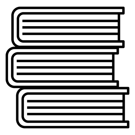Vector Single Black Outline Icon - Stack of Books Çizim