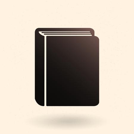 Vector Single Black Silhouette Icon - Closed Thick Book
