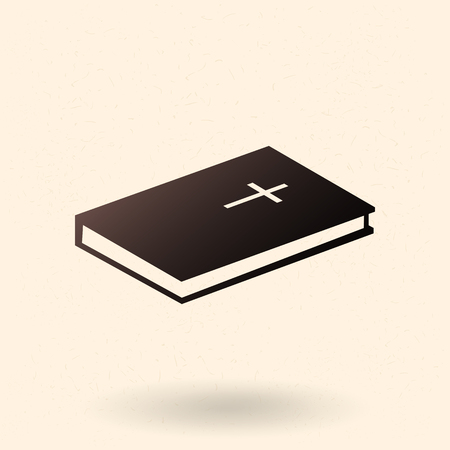 Vector Black Silhouette Holy Bible Icon. Christian Book Pictogram.