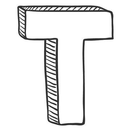 Vector ilustración de dibujo de Doodle - la letra T