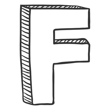 Vector Doodle Sketch Illustration - The Letter F Stock Illustratie