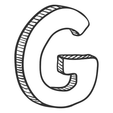 Illustration de croquis de vecteur Doodle - la lettre G