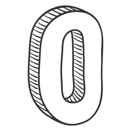 Vector Hand Drawn Sketch Illustration - Number 0. Zero Sign.