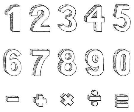 Vector Set of Doodle Sketch Figures and Mathematical Signs. Hand Drawn Arabic Figures From One till Nine. Illustration