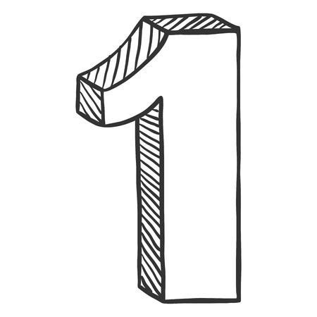 Vector Hand Drawn Sketch Illustration - Number One. The Figure of 1. Ilustração