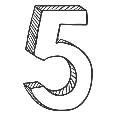 Vector Hand Drawn Sketch Illustration - Number Five. The figure of 5