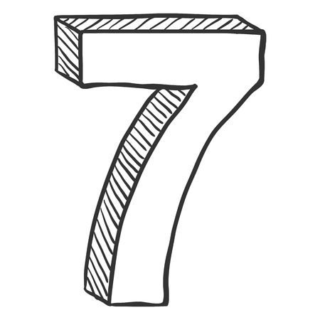 Vector Hand Drawn Sketch Illustration - Number Seven. The figure of 7