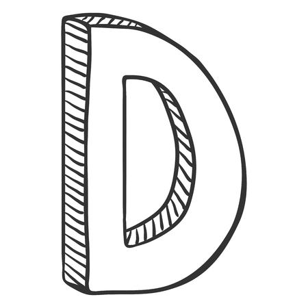 Vector ilustración de boceto único - la letra D