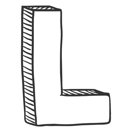 Vector Doodle Sketch Illustration - The Letter L