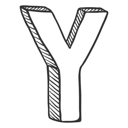 Vector Doodle Sketch Illustration - The Letter Y Stock Vector - 103688229