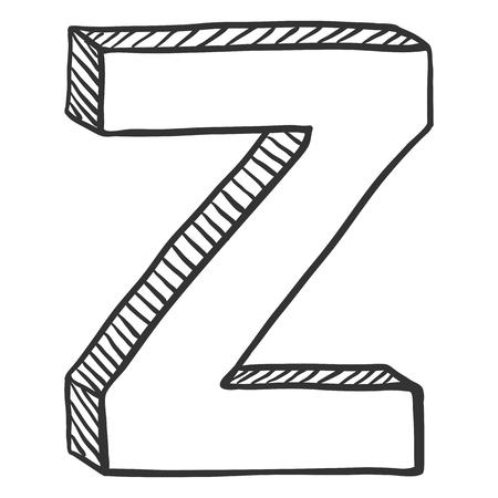 Vector Doodle Sketch Illustration - The Letter Z