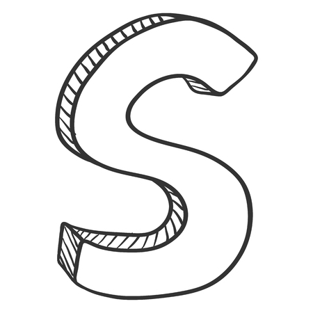 Vector ilustración de esbozo de Doodle - la letra S
