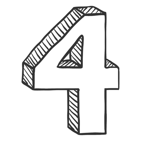 Vector Hand Drawn Sketch Illustration - Number Four . The figure of 4
