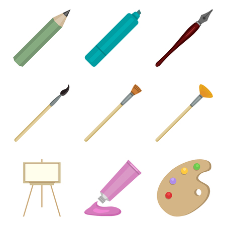 Vector Set of Color Flat Art Icons. Painting and Writing Tools