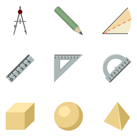 Vector Set of Color Flat Geometry School Icons