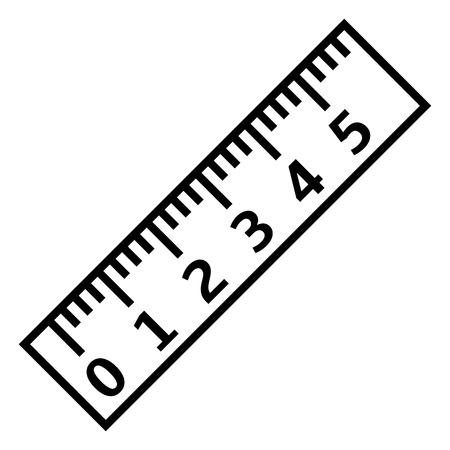 Vector Black Outline Icon - Ruler with Scale and Figures