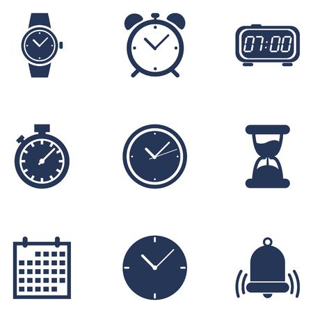 Conjunto de iconos de tiempo de silueta azul oscuro. Símbolos de horario y reloj
