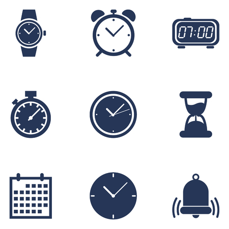 Set of Dark Blue Silhouette Time Icons. Schedule and Watch Symbols