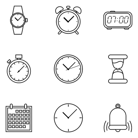 Set of Outline Time Icons. Schedule and Watch Symbols