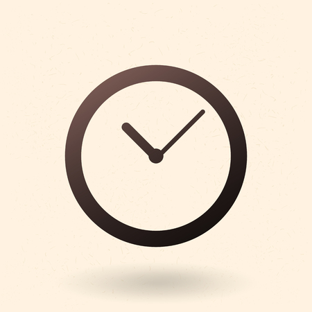 Single Black Silhouette Icon - Round Minimalist Clock