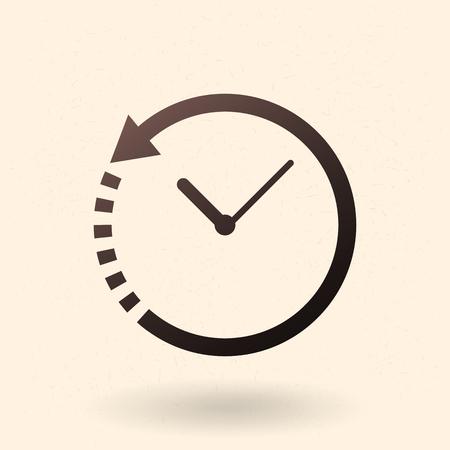 Single Black Silhouette Icon - Clock with Arrow Circling Around