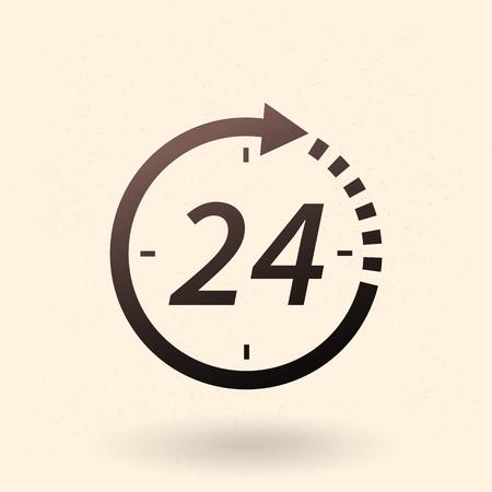 Single Black Silhouette Icon - 24 Hours Vektorové ilustrace