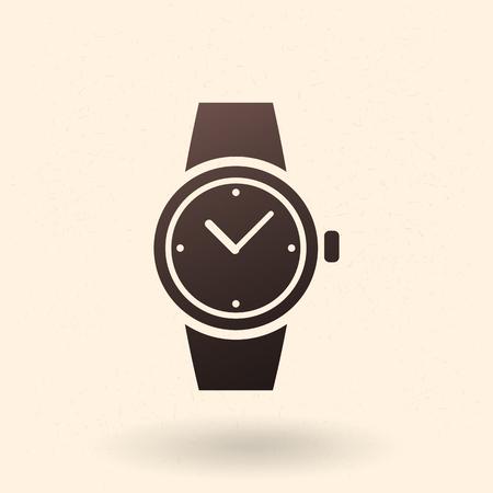 Single Black Silhouette Icon - Wrist Watch Vektorové ilustrace