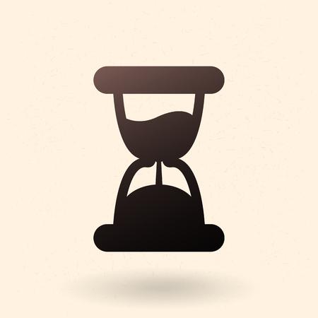 Single Black Silhouette Icon - Hourglass. Sand Watch Sign Vektorové ilustrace