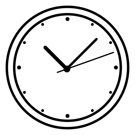 Vector Single Black Outline Icon - Round Wall Clock Иллюстрация