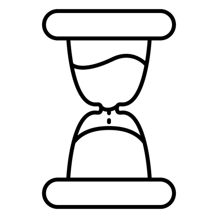 Vector Single Black Outline Icon - Hourglass. Sand Watch Sign