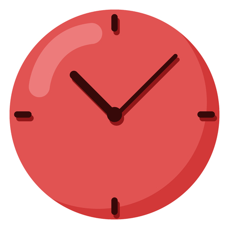 Vector Color Flat Icon - Round Red Wall Clock