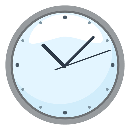 Vector Color Flat Icon - Round Wall Clock with blue Face Иллюстрация