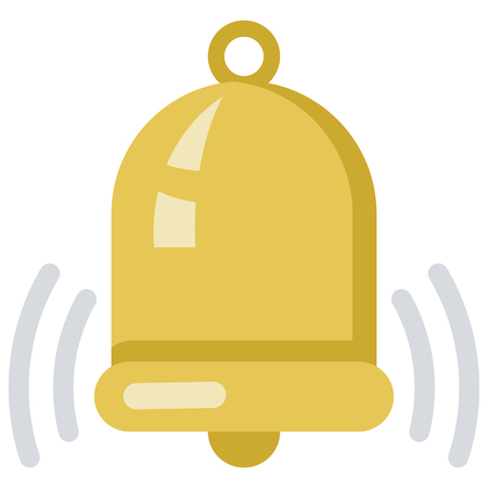Vector Color Flat Icon - Golden Bell. Alert Signal Symbol.