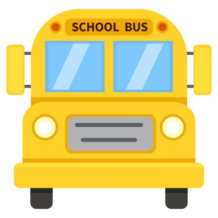 Vector Single Color Flat Icon - Yellow School Bus
