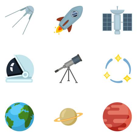 Conjunto de iconos de espacio plano de color. Símbolos de astronomía.