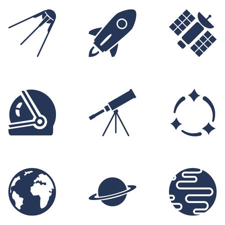 Conjunto de iconos de silueta azul oscuro espacio. Símbolos de astronomía.