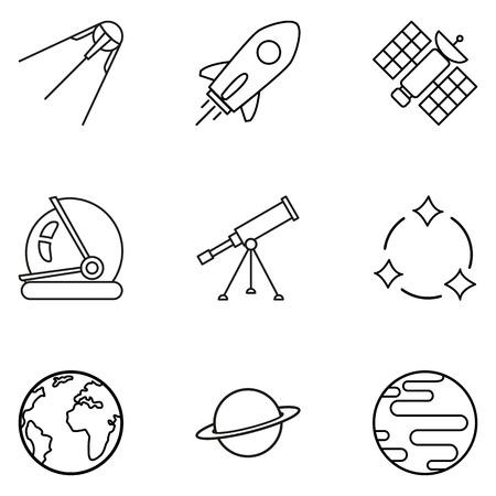 Conjunto de iconos de espacio de contorno negro. Símbolos de astronomía.