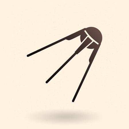 Black Silhouette Icon - Sputnik. Space Satellite.