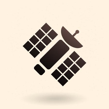 Ikona czarnej sylwetki - orbitalna stacja kosmiczna