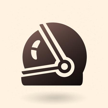 Icono de silueta negra - casco espacial Ilustración de vector