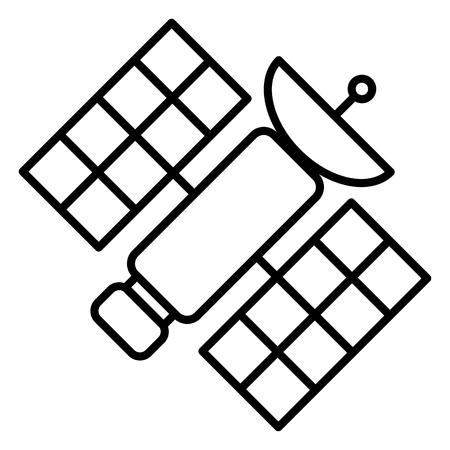Icono de contorno negro - Estación espacial orbital