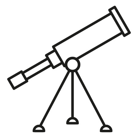 Black Outline Icon - Astronomical Telescope Illustration