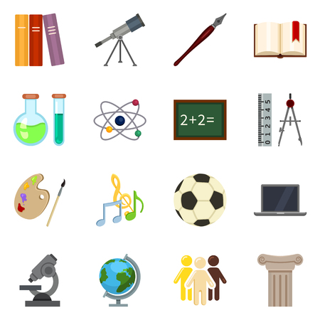 Vector Set of Color Flat School Subject Icons. Education Symbols