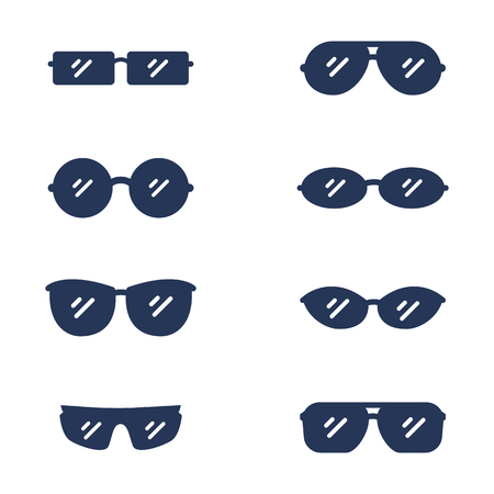 Vector Set of Silhouette Eyeglasses Icons. Sunglasses Rim Types.