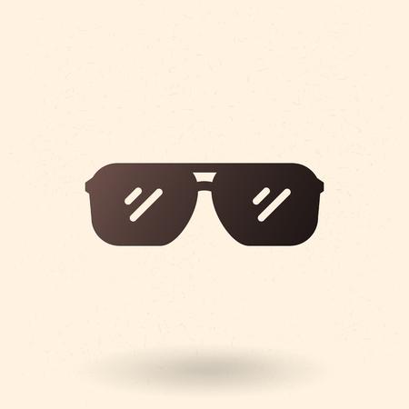 Vector Single Black Silhouette Icon - Aviator Style Sunglasses Illustration